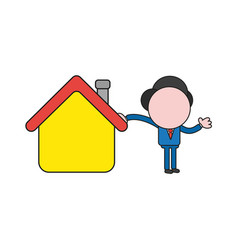 Businessman character leaning on house color and vector