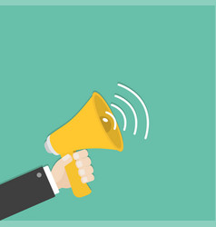 businessman hand holding megaphone speaker vector image
