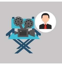 Businessman movie director chair film icons vector