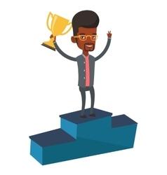Businessman proud his business award vector