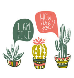 Cactus hand-drawn poster grunge silhouette print vector