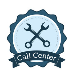 call center support technical badge vector image