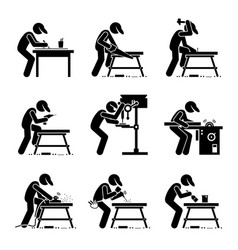 Carpenter using woodworking tools and equipment vector