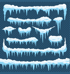 Cartoon snow icicles icicle ice with snowcap on vector