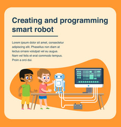 Children creating and programming smart robot vector