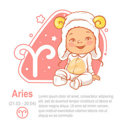 children horoscope icon kids zodiac aries vector image
