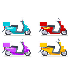 color scooters set motorbike delivery vehicles vector image