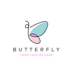 colorful butterfly line art logo overlay vector image