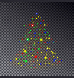 colorful christmas tree made of sparkle isolated o vector image