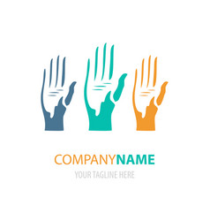Colorful hands logo design vector