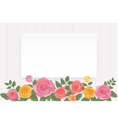 colorful roses floral invitation card template vector image