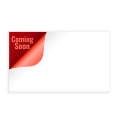 coming soon background in page curl style design vector image