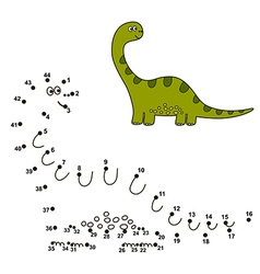 connect the dots to draw a dinosaur and color vector image