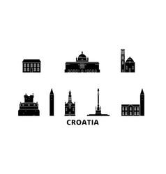 Croatia flat travel skyline set croatia black vector
