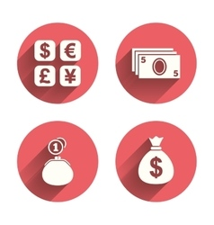 Currency exchange icon Cash money bag wallet vector image