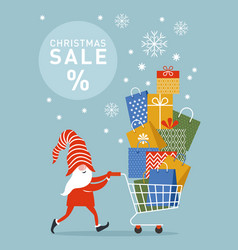 cute christmas gnome rolls shoping cart with gifts vector image