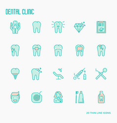 Dental clinic thin line icons vector