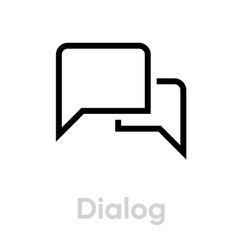 dialog chat message icon editable line vector image