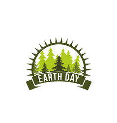 Earth day trees and sun ecology nature icon vector