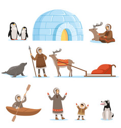 Eskimo characters in traditional clothing and vector