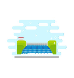 flat hydroelectric power station water dam vector image