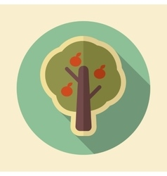 Fruit tree retro flat icon with long shadow vector image
