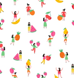 Girls with fruits pattern vector image