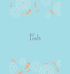 Gold fish with circle water frame vector