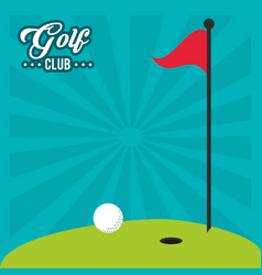 Golf club red flag hole in one field vector