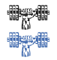 Hand with dumbbell sketch vector