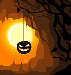 Hanging pumpkin Halloween horizontal banner vector