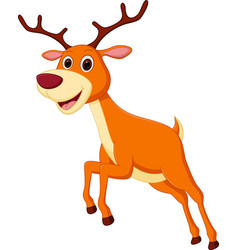 happy deer cartoon jumping vector image