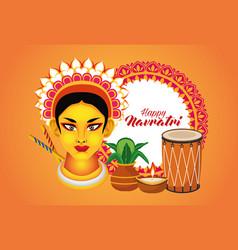 Happy navratri celebration with goddess amba vector