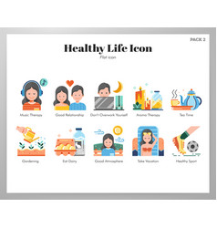 Healthy life icons flat pack vector