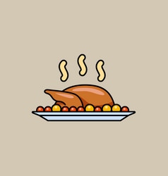 holiday baked turkey vector image