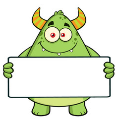 Horned green monster holding a blank sign vector