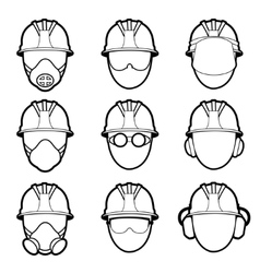 human protective work wear icon set vector image