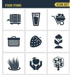Icons set premium quality of food Items business vector