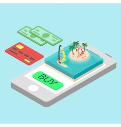 Isometric concept for online purchase touristic vector