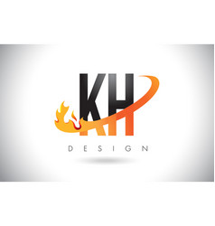 Kh k h letter logo with fire flames design and vector