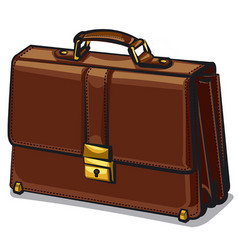 Leather brown briefcase vector