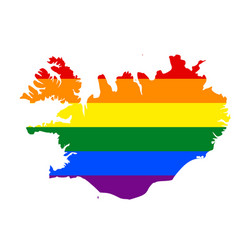Lgbt flag map of iceland rainbow map of iceland vector