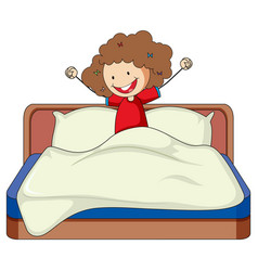 Little girl just wake up on bed doodle cartoon vector