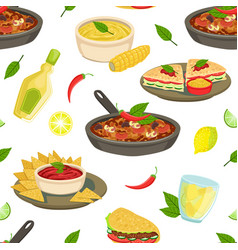 mexican traditional food seamless pattern vector image