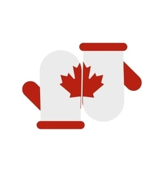 Mittens with a maple leaf icon flat style vector