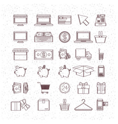 Monochrome set icons buy and sell and vector