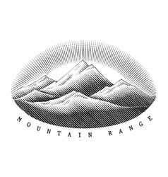 mountain range hand draw vintage style black and vector image