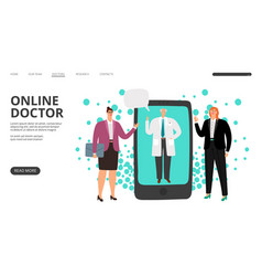 Online doctor consultation landing page vector