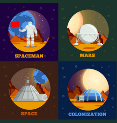 planet colonization flat design concept vector image