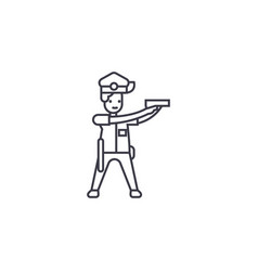 policeman aiming line icon sign vector image